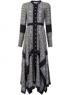 Altuzarra paisley print shirt dress  Details: Black and grey silk paisley print shirt dress
