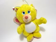 Vintage Wuzzle BUTTERBEAR Disney plush toy Collecable 80s toy  Yellow Bear Pink Wings Flower Antena Disney Wuzzel Hasbro 1984 on Etsy, $18.00