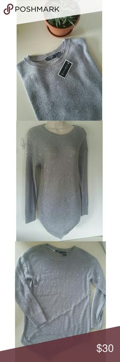 NEW Sequin Oversized Sweater New with tag NWT Gray scoop neck sequin glitter oversized sweater Uneven A line hem  Size medium, true to size Great for winter and the holidays! Verve Ani Sweaters Crew & Scoop Necks