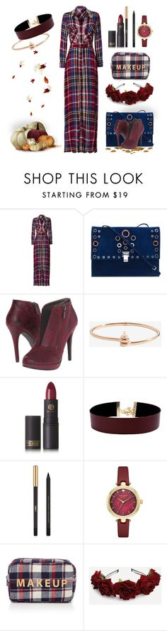 """""""checkered dress"""" by art-gives-me-life ❤ liked on Polyvore featuring L'Agence, Proenza Schouler, Michael Antonio, MIANSAI, Lipstick Queen, Vanessa Mooney, Yves Saint Laurent, Kate Spade, Forever 21 and contestentry"""