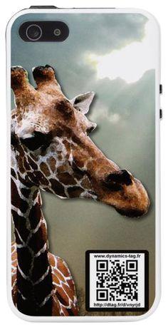 Coque de portable IPhone 5/5s associée à une carte de visite virtuelle via un qrcode : illustration : Girafe