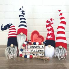 Make these cute patriotic gnomes and others like them with our DIY gnome patterns and tutorials! Patriotic Crafts, July Crafts, Summer Crafts, Holiday Crafts, Diy And Crafts, Fourth Of July Decor, 4th Of July Decorations, 4th Of July Party, July 4th
