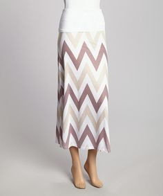 Look what I found on #zulily! Brown & White Zigzag Maxi Skirt by Casalee #zulilyfinds
