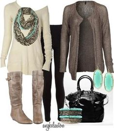 I like the color taupe a lot, and also like the pop of color with the turquoise.