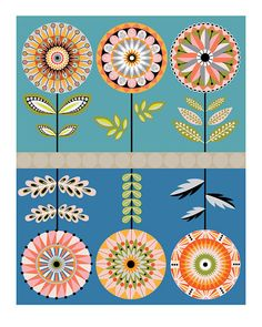 CbyC Studio Original Illustration - Retro Floral 2 -  Limited Edition Print. $15.00, via Etsy.