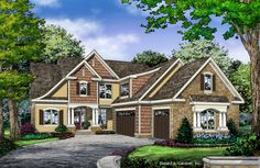 The Charlotte #1363 is NOW AVAILABLE! This uniquely layed-out floor plan features 4 bedrooms, two on the first level and two upstairs. http://www.dongardner.com/house-plan/1363/the-charlotte. #NewPlan #TwoStory #Cottage
