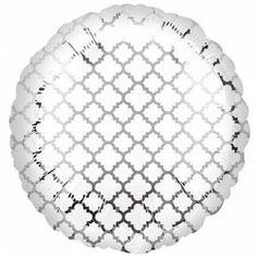 White and Silver Quatrefoil Foil Balloon