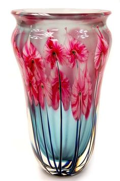 John Lotton triple cased hand blown Art Glass Vase.Необыкновенно нежные переходы цветов , необычная форма.