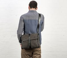 Cherchbi Norwich Large satchel, grey Herdwyck tweed