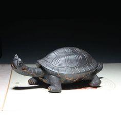 Chinese-100-Handmade-Yixing-Zisha-Pottery-tea-pet-ornaments-purple-turtle