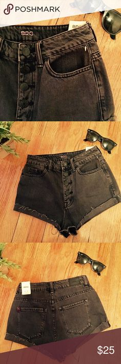 BDG Urban Outfitters jean shorts NWT BDG distressed denim cutoff jean shorts charcoal gray/black. Short shorts, not much fabric in the inseam area...see photo. Would be great for a beach/pool day. Size 25w. Urban Outfitters Shorts Jean Shorts