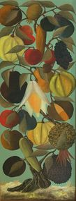 "Jasmin Joseph 36""x12"" Tree of Life#2 1967 Oil on Board 
