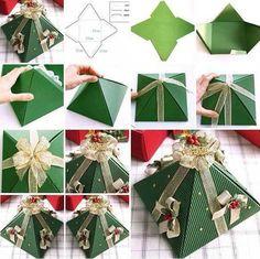 selber machen pappe weihnachtsgeschenke  grün tanne