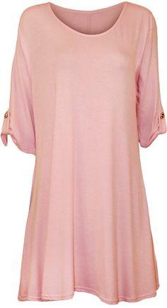 Womens Plus Size Scoop Neck Short Sleeve Flared Ladies Long Plain Top Sizes 14 - 28: Amazon.co.uk: Clothing