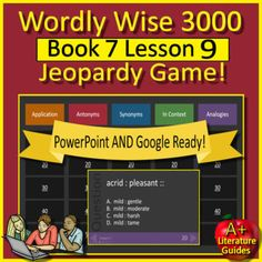 This is a Wordly Wise 3000 PowerPoint Review Game for Book 7 (Grade 7) Lesson 9. This should be played a day or two before students take a test on these words. It could be played by a single student, or as a class in groups. The questions and answers are included.Questions Include:--Application--Ant...