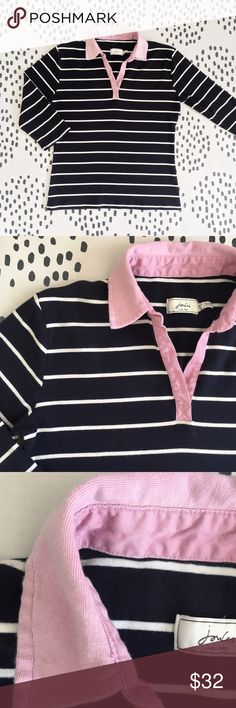 Joules Navy Stripe Polo Pullover Top Joules Navy & White Stripe Pullover Top with Open Polo Collar. Size 12 / XL, definitely fits more like a 12. Collar is a pink-lavender color. Slight wash wear on the collar (3rd photo). I love this as a spring and summer layering piece. So easy to pop on for a cool evening. Joules Tops