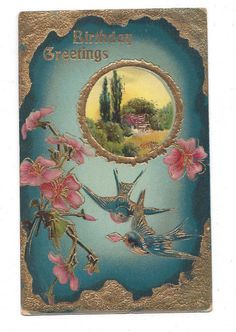 Antique Gel Finish Postcard Birthday Greetings Bluebirds Pink Flower Gold Foil## #Birthday