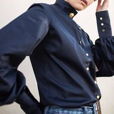 The Amelia shirt, bishop sleeves and finished with gold buttons. Shop at basicsdept.com #BASICSinstinct 📸 @annaquanlabel