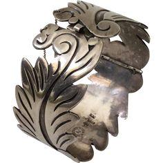 Alfredo Villasana Taxco Sterling Silver Cuff Bracelet c. 1950s
