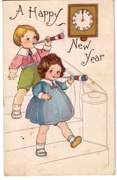Vintage Postcard Wonderful 'Happy New Year Card'.love the red ,white and blue horns. Vintage Happy New Year, Happy New Year Cards, New Year Greeting Cards, New Year Greetings, Vintage Greeting Cards, Vintage Christmas Cards, Vintage Holiday, Vintage Postcards, Holiday Cards