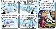 A cartunista Pryscila comenta com irreverência o possível rodízio de cinco dias sem água e dois dias com abastecimento, anunciado pela Sabesp
