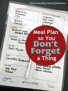 A FREE Printable Meal Planner So You Don't Forget a Thing - Get organized this week for great meals; learn to meal plan so you don't forget a thing. Download a free printable meal planner to track meal plans, groceries, and meal prep tasks. Weekly Meal Plan Template, Meal Planner Template, Meal Planner Printable, Weekly Menu, Recipe Organization, Kitchen Organization, Organization Ideas, Free Meal Planner, Gluten Free Menu