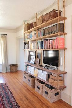 Large Hanging Shelving Unit With Thick Rustic Wooden Shelves And Thick Ropes Hanging Bookshelves, Hanging Rope Shelves, Floating Bookshelves, Bookcase, Diy Hanging, Rustic Wooden Shelves, Pallet Shelves, Diy Closet Shelves, Tyni House
