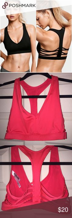 VS Sport Sports Bra (Coral) Coral pink bright color. Worn once. Removable padding. Stock photo is different from actual color of the one I'm selling. It is color as shown in my own photos. Victoria's Secret Intimates & Sleepwear Bras