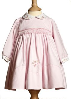 Sarah Louise hand smocked dress in pink gingham with floral embroidery