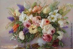 """Картины цветов ручной работы. Ярмарка Мастеров - ручная работа Букет в вазе """"Розы"""". Handmade."""