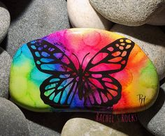Painted Rocks, Butterfly, Etsy Shop, Artwork, Crafts, Work Of Art, Manualidades, Auguste Rodin Artwork, Painted Pebbles