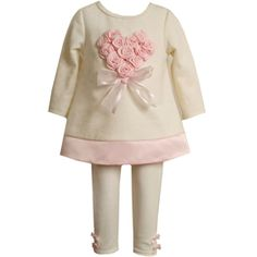 CLEARANCE SALE!! Bonnie Jean Heart Rose Pant Set.  More at: http://stuffmomsandkidslikebest.blogspot.com