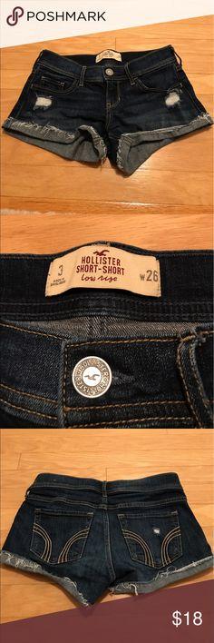 Hollister Jean shorts Hollister Jean Shorts, size 3 w26. Excellent condition. Dark wash Hollister Shorts Jean Shorts