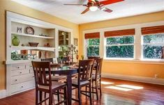 Dining room with built-in sideboard/buffet. 1917 Craftsman bungalow in Eagle Rock, 525k