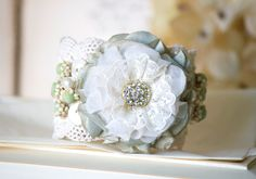 Lace Cuff Bracelet with Fabric Flower and Vintage Buttons