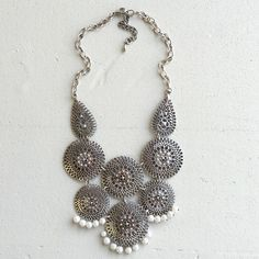 Statement necklace Super trendy Bohemic silver necklace. Adorned with cute little pearls. Very light and comfortable to wear. HWL Boutique Jewelry Necklaces