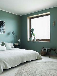 Green bedroom decoration ideas bedroom decor, home bedroom, bed Green Bedroom Decor, Bedroom Colors, Home Decor Bedroom, Bedroom Wall, Bedroom Ideas, Beige Headboard, Green Rooms, Green Walls, Minimalist Bedroom