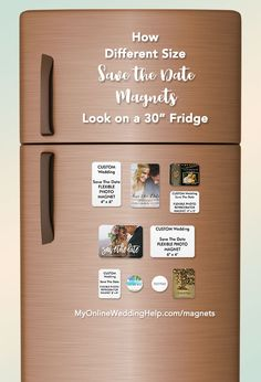How different sizes of save the date magnets look on a refrigerator (to help you decide which kind you want). The are all personalized, but those that are white are fully custom save the date magnets. Upload your own image and make them look exactly how you want.