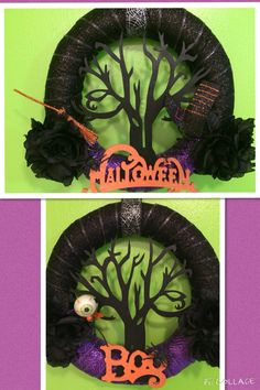 SCARY PAIR O'TREES! Halloween wreaths with black balsa wood trees, orange glitter wooden decor