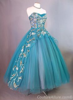 Vintage 1950's Ball Gown Party Dress Beaded Tulle