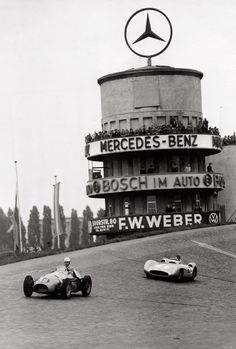 Max Schirner (1891 - 1952, agency founded in 1924) and others. Avus race car driving in Berlin. Circa 1954.