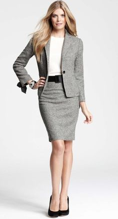 Ann Taylor - Tweed Bow Sleeve Jacket and Pencil Skirt