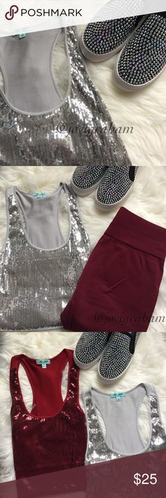 The Arte by Zenana Sequins Tanks TWO 💋Super cute sequins tanks.  Dress them up or dress them down. But guaranteed to add a sparkle to your ensemble 🙌🏽.  Colors : Silver , and Cranberry.   Super soft, 95% rayon, 5% spandex.  NWOT, tried on but NEVER WORN !! The Arte Tops Tank Tops