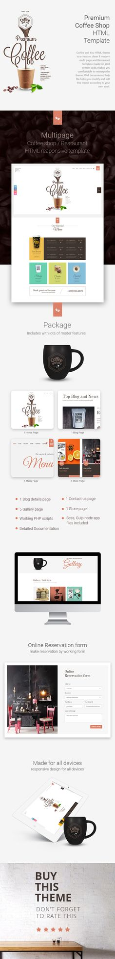 Coffee shop HTML template is a creative, clean & modern multi page template made for specially coffee shops, restaurants and other food business. Well written codes makes you comfortable to ...