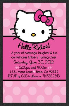 "Hello Kitty Birthday Invitations by Delight Invite are the perfect choice if you are planning a Hello Kitty birthday party! These Hello Kitty inspired invites are printed on gorgeous shimmer Stardream paper and hand-mounted on sparkly black card stock. Change out your child's name after the ""Hello"" for that added personal touch! These invites are too cute not to include in your Hello Kitty themed birthday party!"