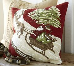 "Christmas Eve Crewel Embroidered Pillow Cover - 18"" square - Woven of pure cotton. - Reverses to solid red.   #potterybarn"