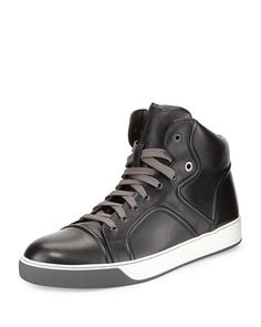 Piped+Leather+High-Top+Sneaker,+Black++by+Lanvin+at+Neiman+Marcus.