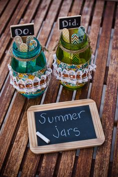 "Summer Jars to Beat the Summer Boredom! Create a summer bucket-list with your children, put the ideas in decorated jars, pull one out when they say ""I'm Bored"", and make it a summer to remember!"