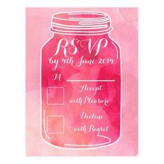 watercolor pink mason jar wedding RSVP card