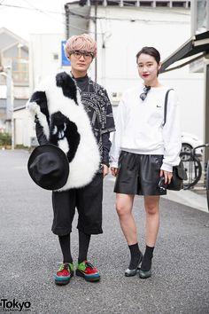 Harajuku Duo in Black & White w/ KTZ, Hyein Seo, United Nude Eamz & Ambush (Tokyo Fashion, 2015)